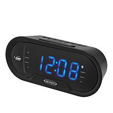 Jensen JCR-298 Bluetooth Dual Alarm Clock with Charging Port & Radio