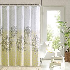 Jessica Printed Shower Curtain and Hook Set - Yellow