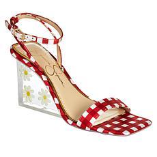 Jessica Simpson Aysie Gingham-Print Acrylic Wedge Dress Sandal