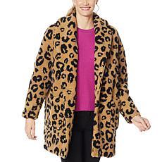 Jessica Simpson Carmen Leopard-Print Faux Sherpa Coat