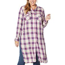 Jessica Simpson Lori Button Down Plaid Duster Shirt