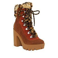Jessica Simpson Mikah Leather High-Heel Platform Hiking Bootie