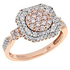 Jewelry Vault 10K Rose Gold .90ctw Pink and White Diamond Pavé Ring