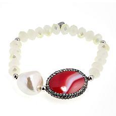 JK NY Agate Station Simulated Pearl Stretch Bracelet