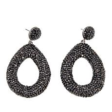 JK NY Black Stone Silvertone Teardrop Pavé Earrings