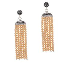 JK NY Faceted Bead Tassel Drop Earrings