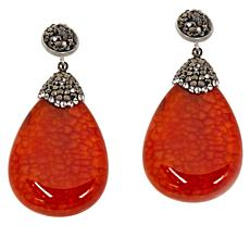 JK NY Faceted Pear Agate Pavé Drop Earrings