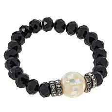 JK NY Shell Doublet Beaded Stretch Ball Bracelet