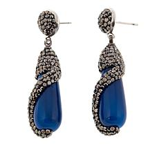 JK NY Simulated Agate Silvertone Pavé Twist Earrings