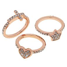 Joan Boyce Cross, Heart and Star Pavé 3-piece Band Ring Set