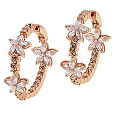 Joan Boyce Cubic Zirconia and Crystal Flower Hoop Earrings