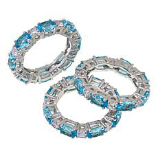 "Joan Boyce Cyndy's ""Hugs and Kisses"" 3-piece Colored Ring Set"