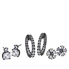 Joan Boyce Flower, Hoop and Stud 3-piece Earrings Set