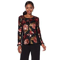 Joan Boyce Princess Seam Long-Sleeve Sequin Jacket