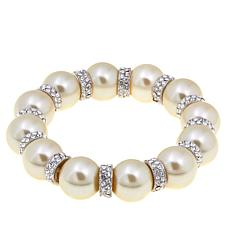 Joan Boyce Simulated Pearl Pavé Stretch Bracelet