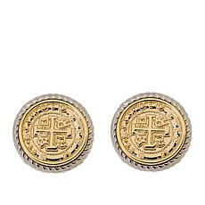 Joan Boyce Two-Tone Rope-Design Coin Button Earrings