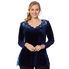 Joan Boyce Velvet Long-Sleeve Lace Top
