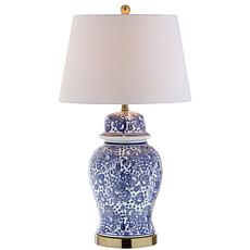 "JONATHAN Y Blue and White Ellis 29.5"" Ceramic LED Table Lamp"