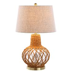 "JONATHAN Y Brown and Clear Joseph 28.5"" Glass and Rope LED Table Lamp"