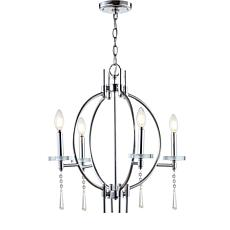 "JONATHAN Y Chrome Laura 23"" Crystal Metal LED Pendant"