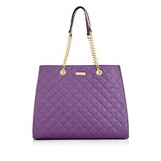 JOY & IMAN Diamond Quilted Genuine Leather Satchel with RFID