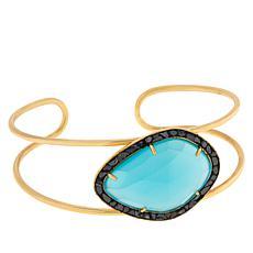 Joya Goldtone Deco Crushed Diamond and Gemstone Cuff Bracelet