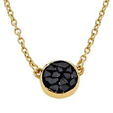 Joya Goldtone Deco Crushed Diamond Round Pendant Necklace