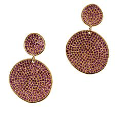 Joya Goldtone Sterling Silver Gemstone Disc Drop Earrings