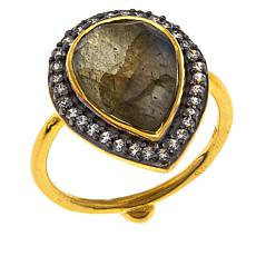 Joya Raj CZ and Labradorite 2-Tone Ring