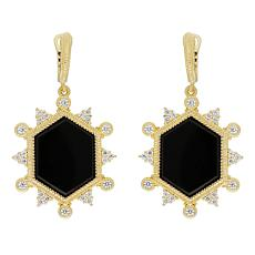 Judith Ripka 14K Gold Clad Black Onyx and Diamonique® Drop Earrings