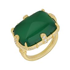Judith Ripka 14K Gold Clad Green Chalcedony and Diamonique® Ring