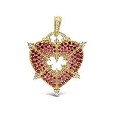 Judith Ripka 14K Gold Clad Pink and White Diamonique® Heart Pendant