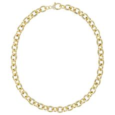 """Judith Ripka 14K  Gold Clad Shiny and Striped Oval Link Necklace - 20"""""""