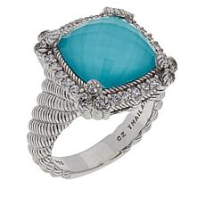 Judith Ripka Blue Quartz Doublet and Diamonique® Ring