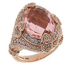 Judith Ripka Colored CZ Oval and Diamonique® Accent Ring