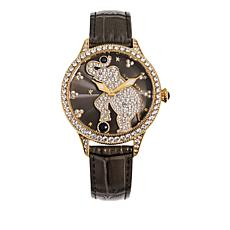 Judith Ripka Diamonique® Emily Elephant Leather Strap Watch