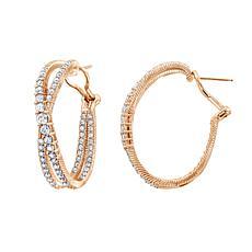 Judith Ripka Diamonique® Simulated Diamond Criss-Cross Hoop Earrings