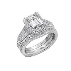 Judith Ripka Diamonique® Simulated Diamond Emerald-Cut Ring with Guard