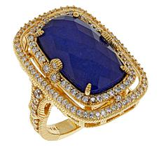 Judith Ripka Green Chalcedony or Blue Lapis Doublet Ring