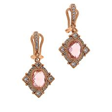 Judith Ripka Simulated Pink Morganite and Diamonique® Drop Earrings