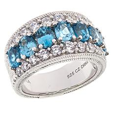 Judith Ripka Sterling Silver 4.56ctw Blue Zircon and Diamonique® Ring