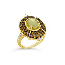 Judith Ripka Sterling Silver Diamonique® Citrine and Gem Cocktail Ring