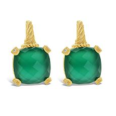 Judith Ripka Sterling Silver Diamonique® Green Chalcedony Earrings