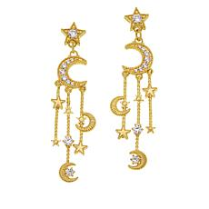 Judith Ripka Sterling Silver Diamonique® Moon & Stars Dangle Earrings