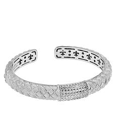 Judith Ripka Sterling Silver Diamonique® Pavé Hinged Cuff Bracelet