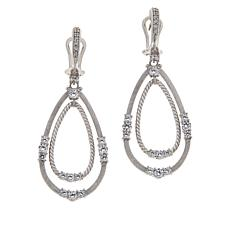 Judith Ripka Sterling Silver Diamonique® Textured Dangle Earrings