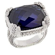 Judith Ripka Sterling Silver Simulated Tanzanite & Diamonique® Ring