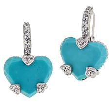 Judith Ripka Sterling Silver Turquoise and Diamonique® Heart Earrings