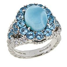 Judith Ripka Swiss Blue Topaz and Larimar Sterling Silver Ring