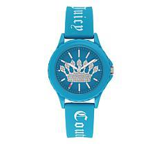 Juicy Couture Women's Blue Logo Strap Sparkle Crown Watch